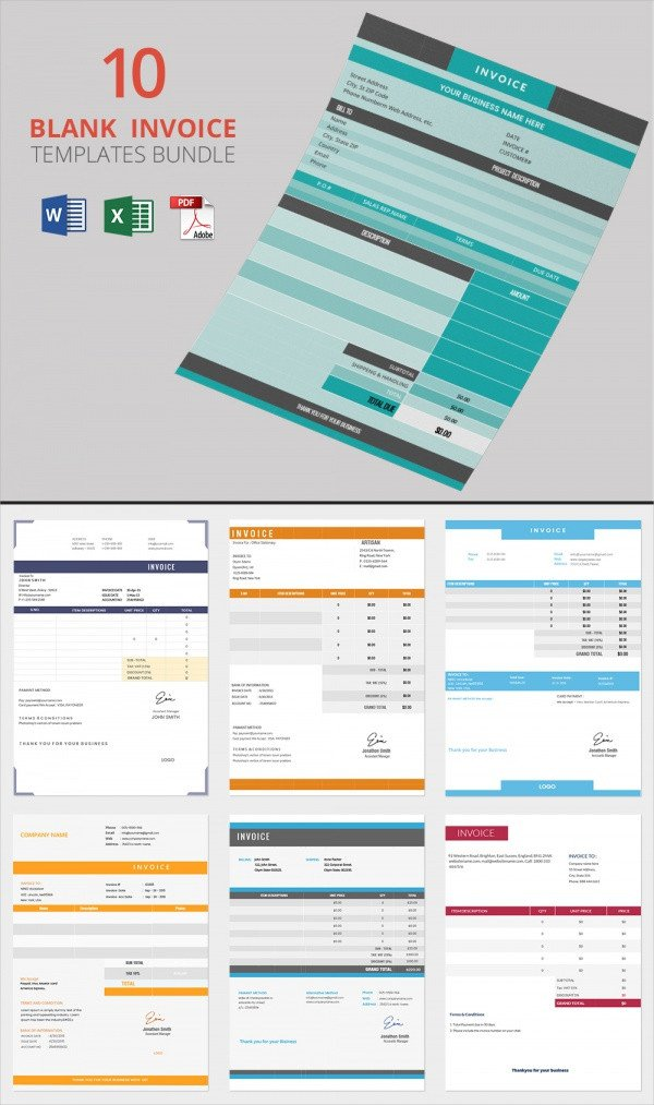 Blank Invoice Template Pdf Blank Invoice Template 50 Documents In Word Excel Pdf