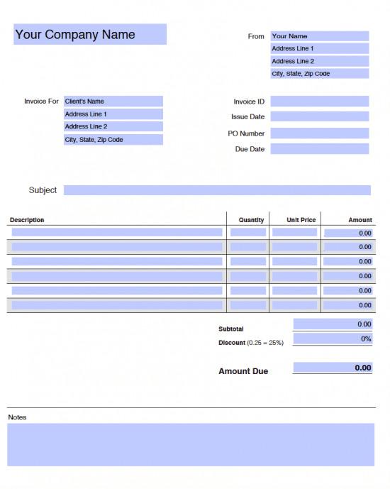 Blank Invoice Template Pdf Free Blank Invoice Templates In Adobe Pdf Pdf