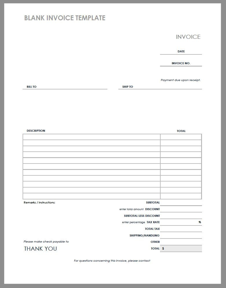 Blank Invoice Template Word 55 Free Invoice Templates
