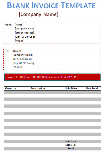 Blank Invoice Template Word Blank Invoice Template 5 Free Blank Invoices