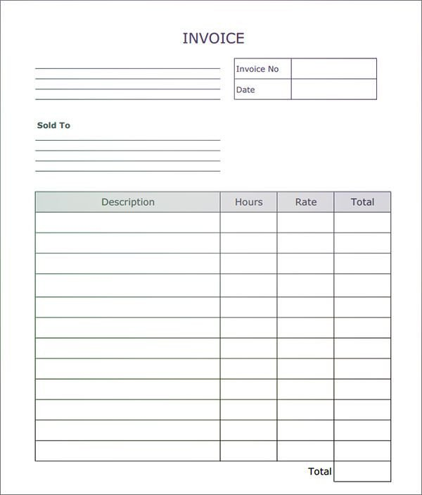 Blank Invoice Template Word Fillable Invoice Blank In Pdf