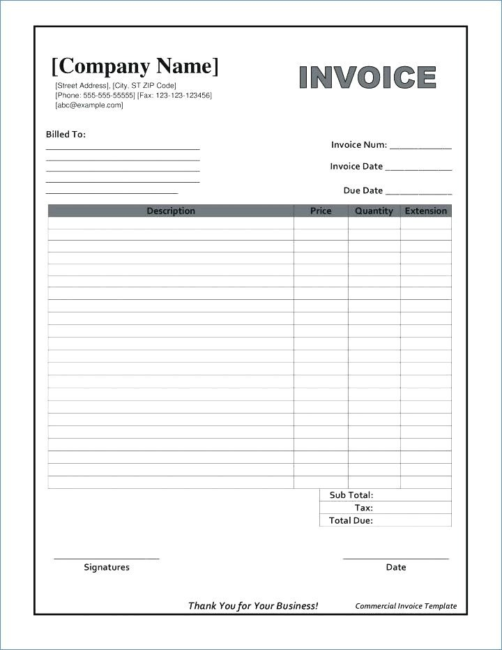 Blank Invoice Template Word Fillable Invoice Template Pdf