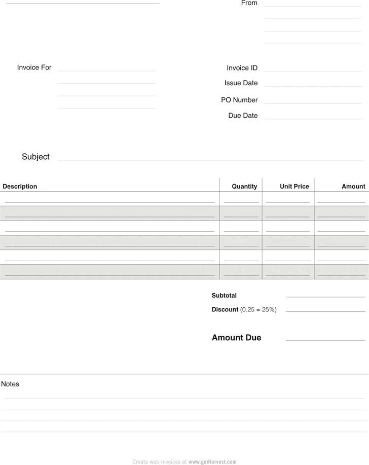Blank Invoice Template Word Free Blank Invoice Template for Excel Excel Template