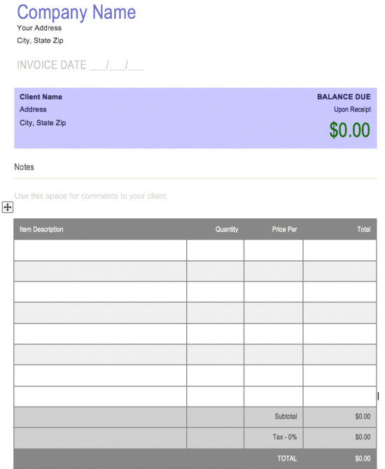 Blank Invoice Template Word Free Free Blank Invoice Templates In Microsoft Word Cx