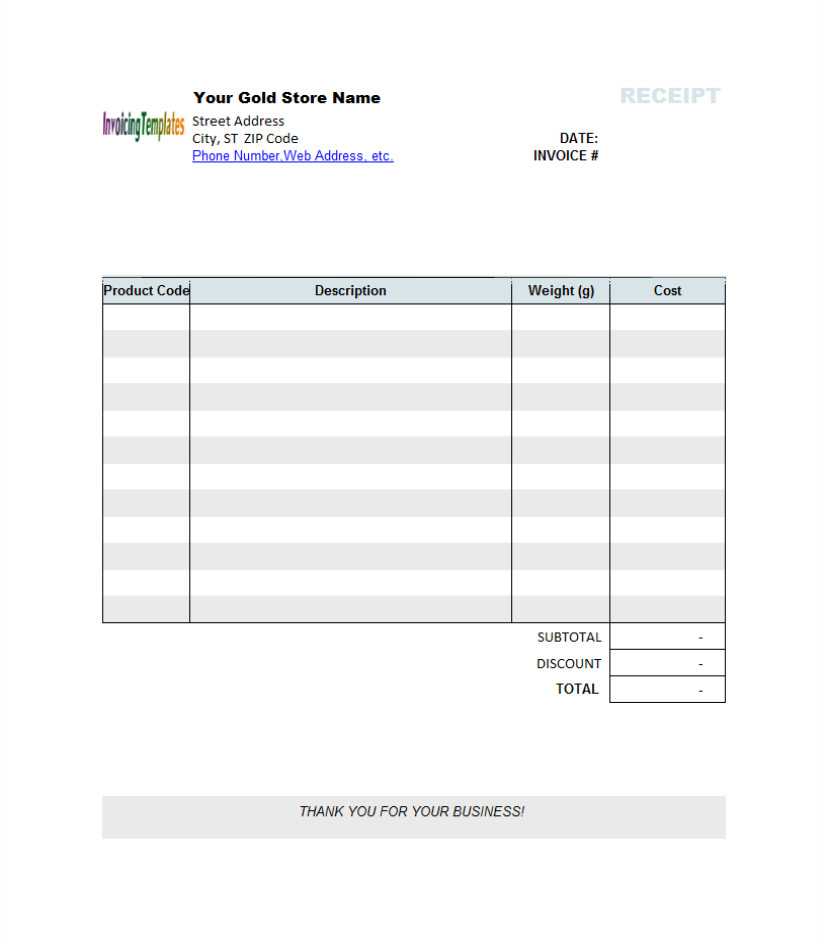 Blank Invoice Template Word Graphic Receipt Template
