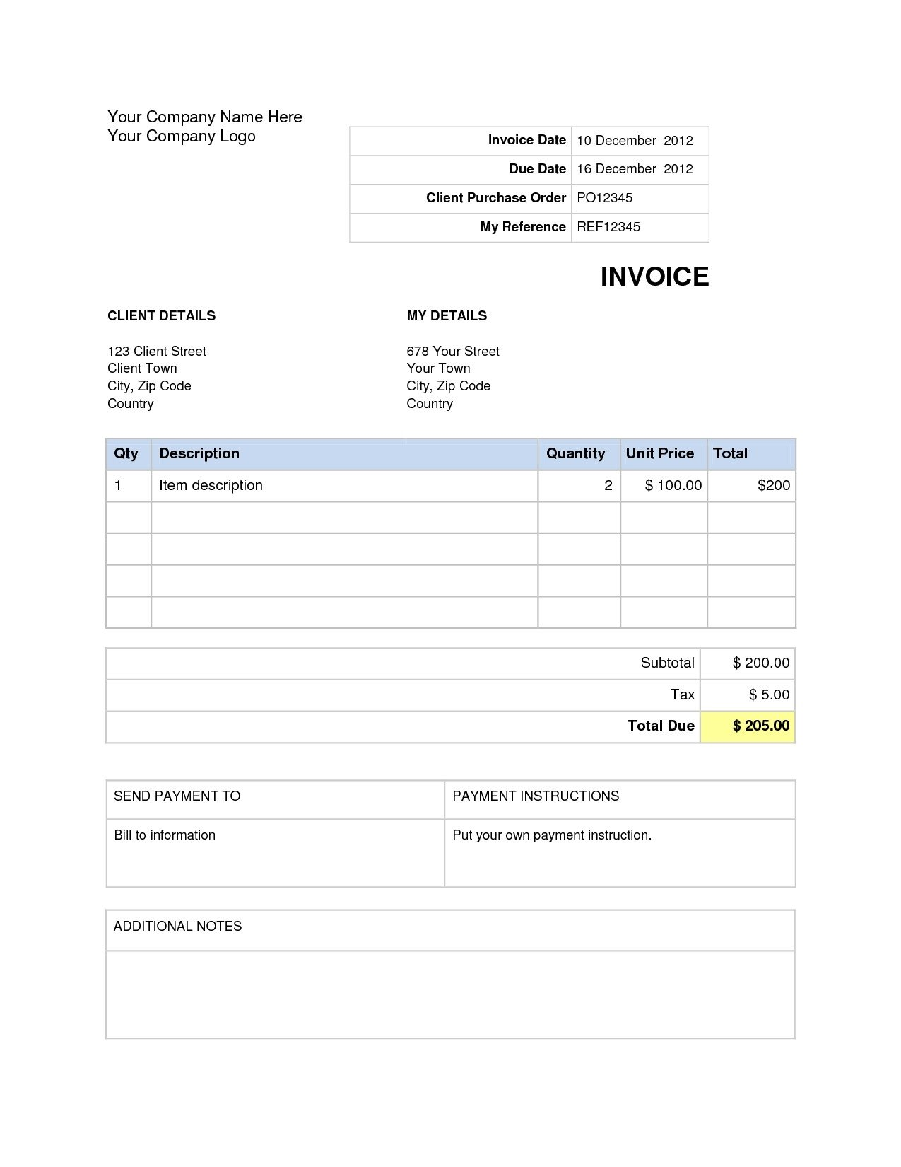 Blank Invoice Template Word Invoices In Word Invoice Template Ideas