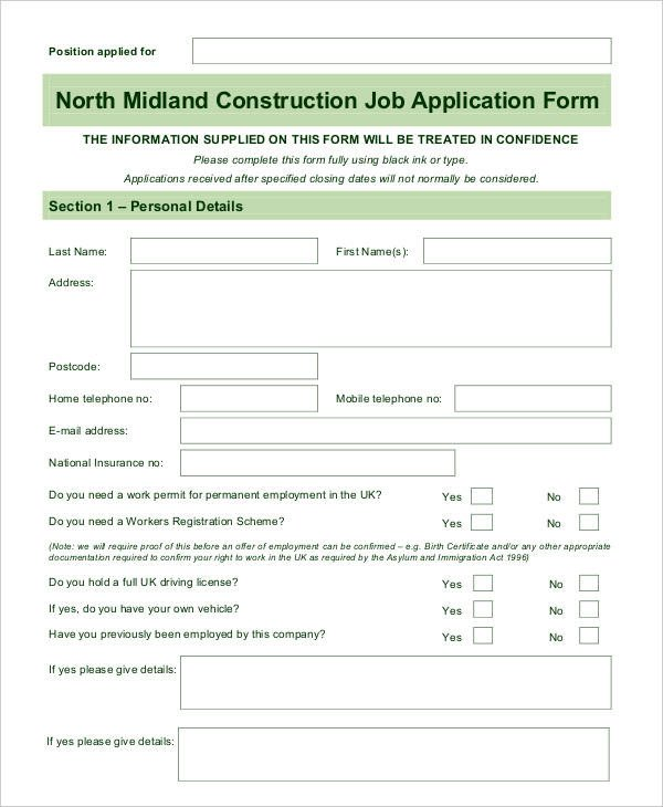 Blank Job Application Template Blank Job Application 8 Free Word Pdf Documents