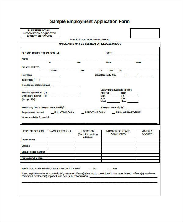 Blank Job Application Template Generic Employment Application Template 8 Free Pdf