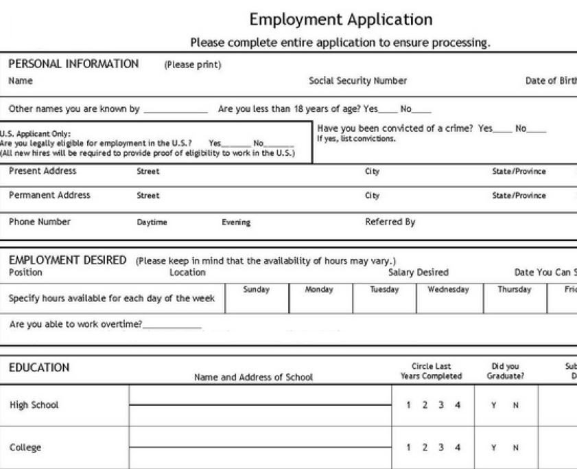 Blank Job Application Template Job Application Template