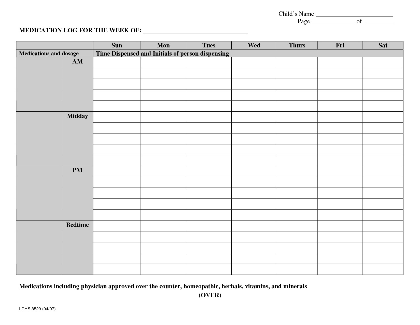 Blank Medication Administration Record Template Daily Medication Log Template