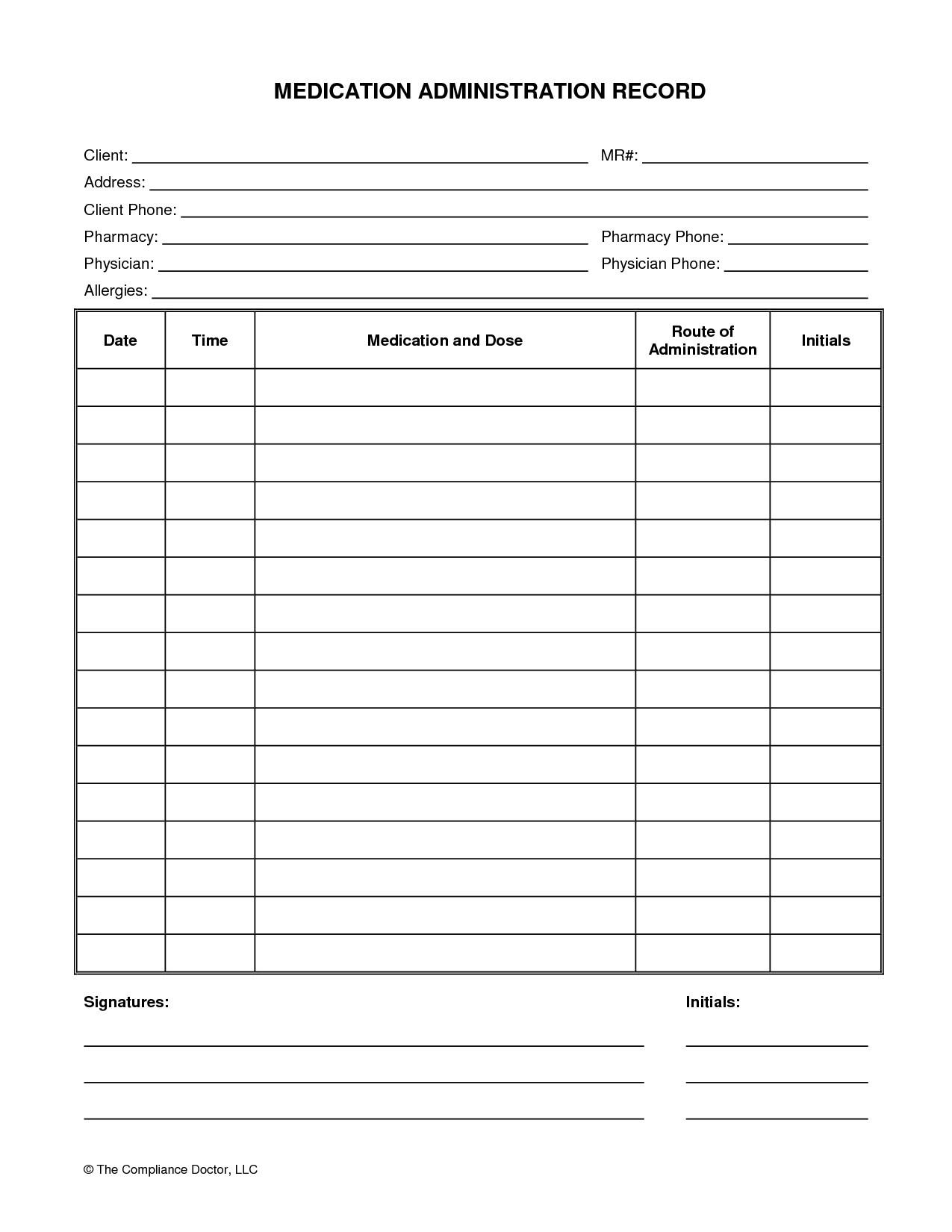 Blank Medication Administration Record Template Medication Administration Record form