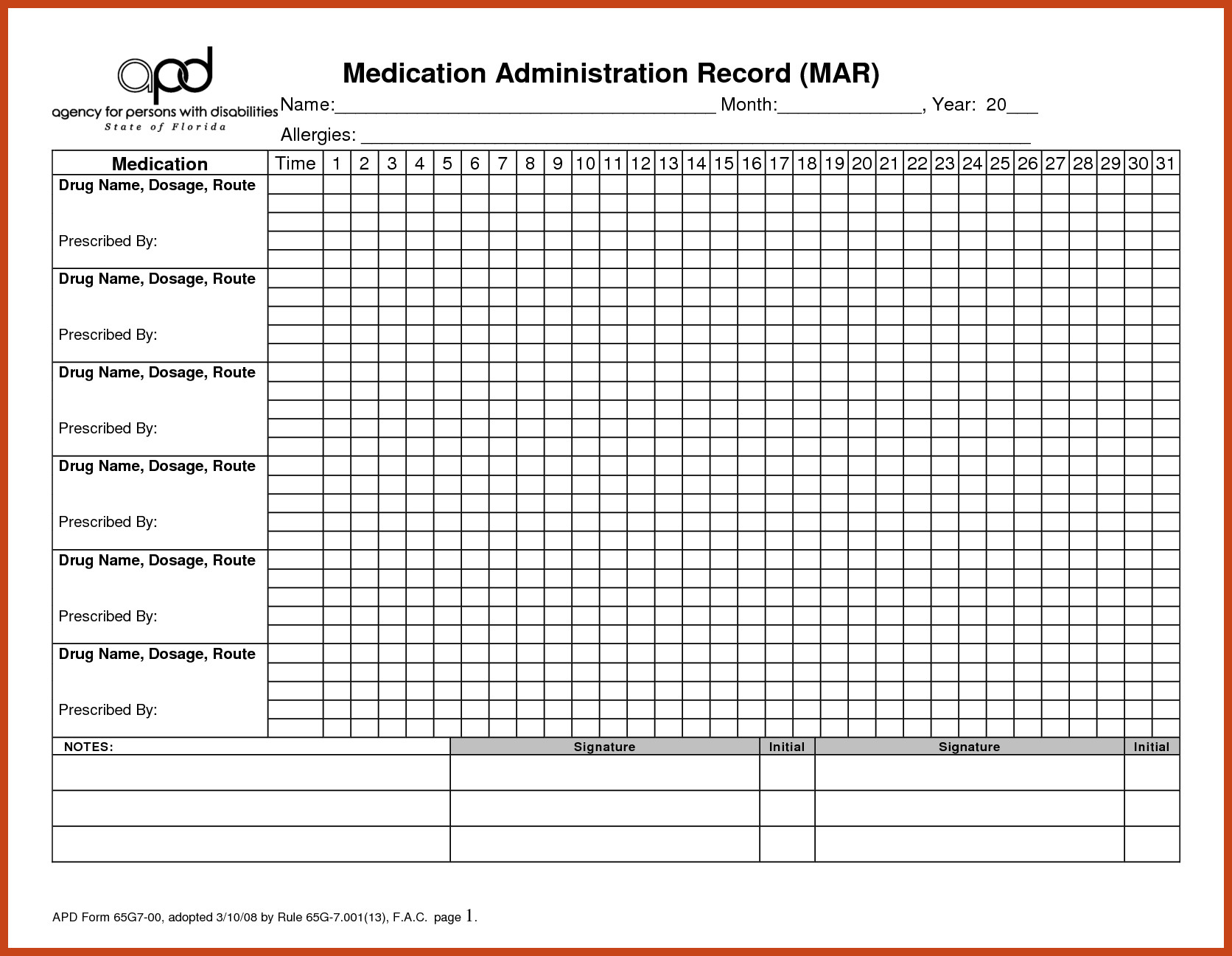Blank Medication Administration Record Template Medication Administration Record Template Pdf Hospi