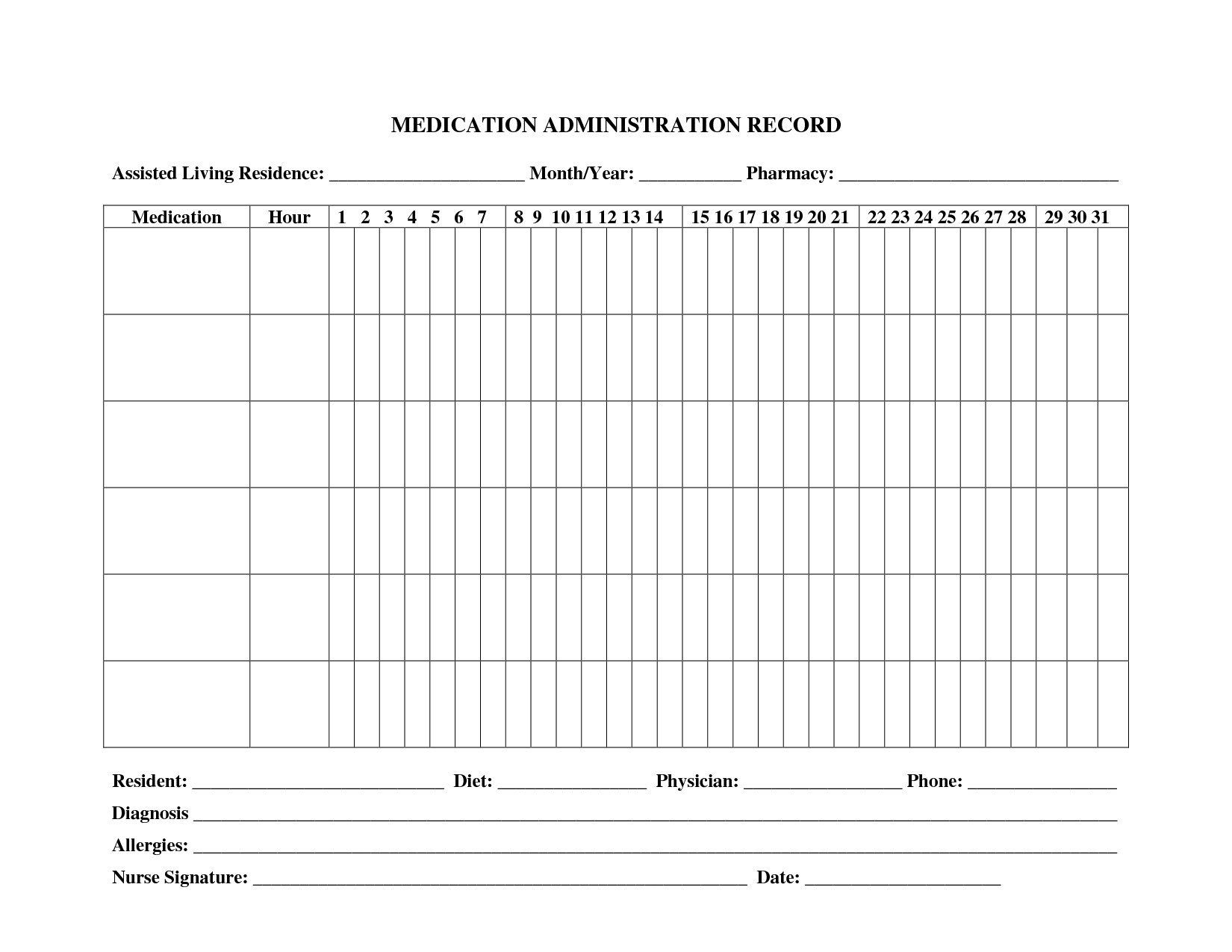 Blank Medication Administration Record Template Medication Administration Records Template