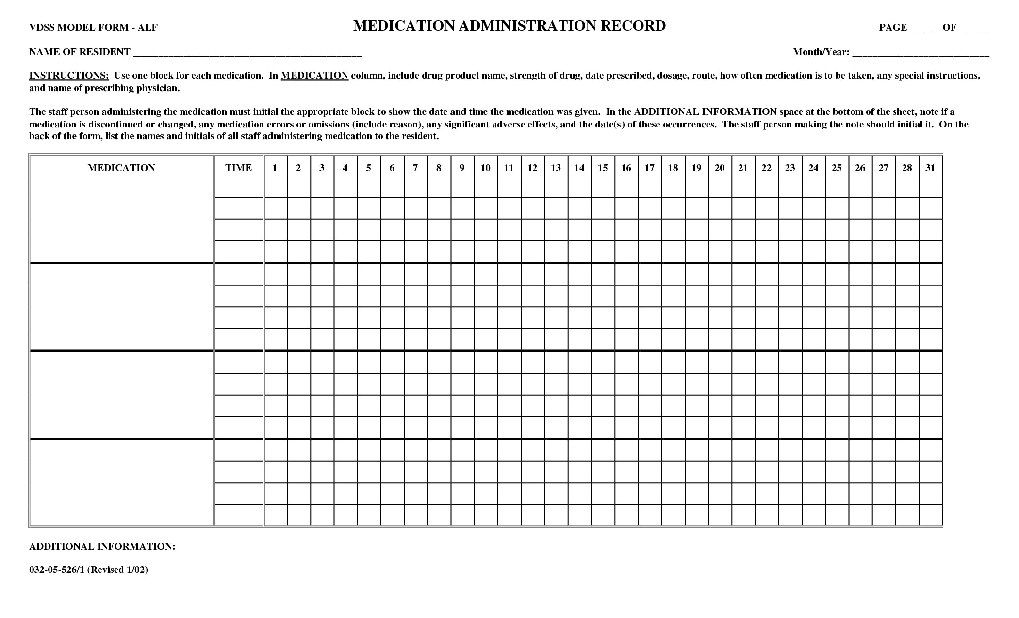 Blank Medication Administration Record Template Printable Medication Administration Record