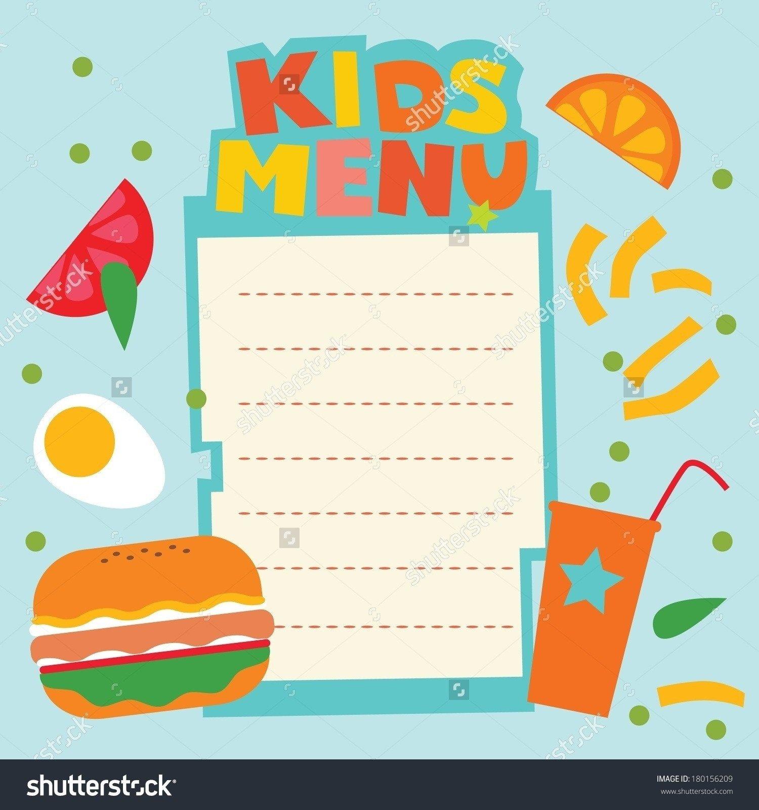Blank Menu Template Free Blank Menu Template for Kids