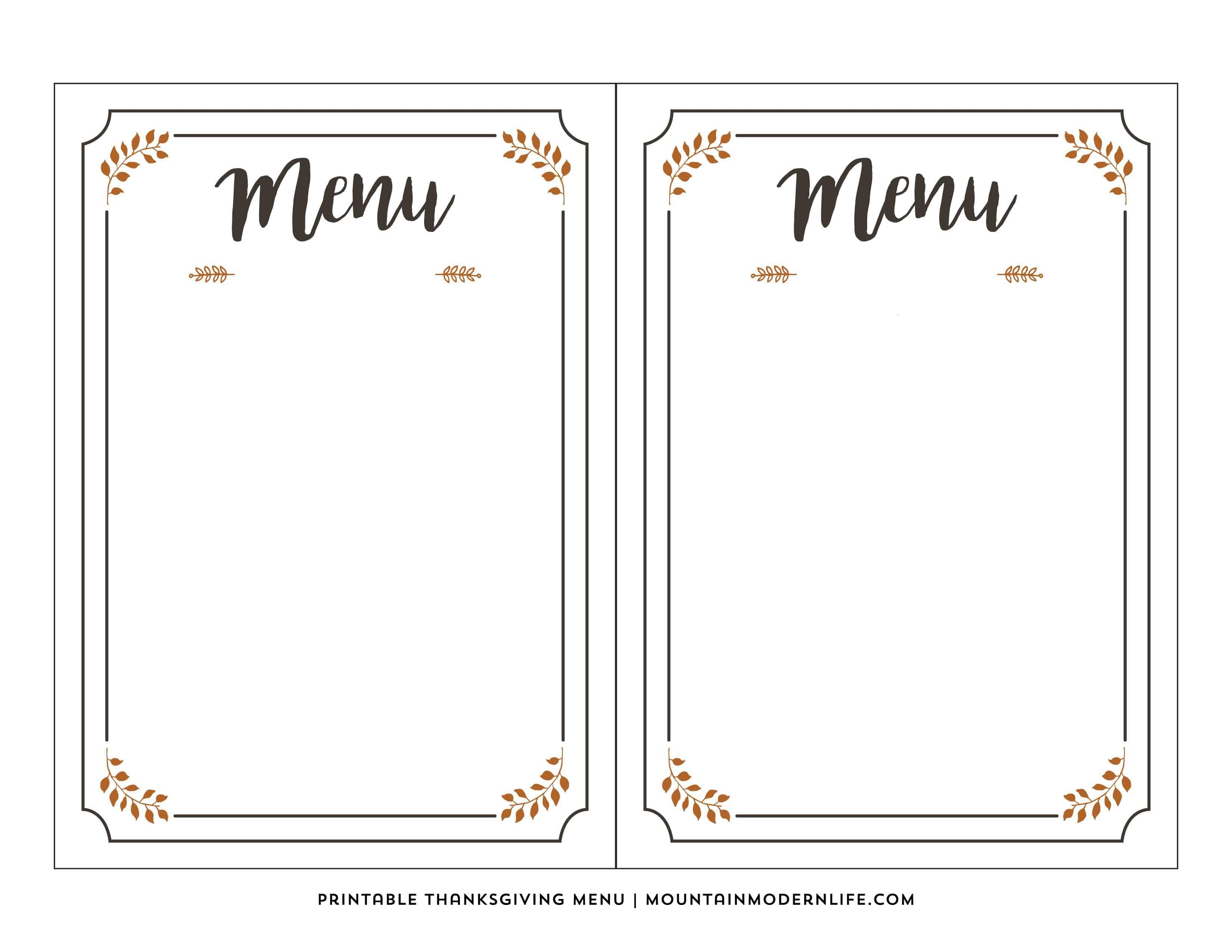 Blank Menu Template Free Free Printable Thanksgiving Menu