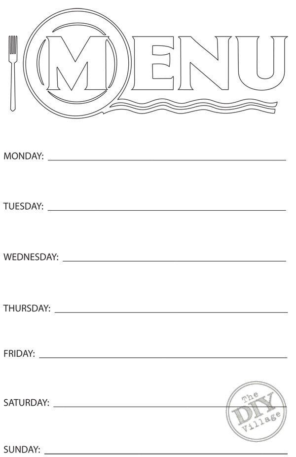 Blank Menu Template Free Free Printable Weekly Menu Planner the Diy Village