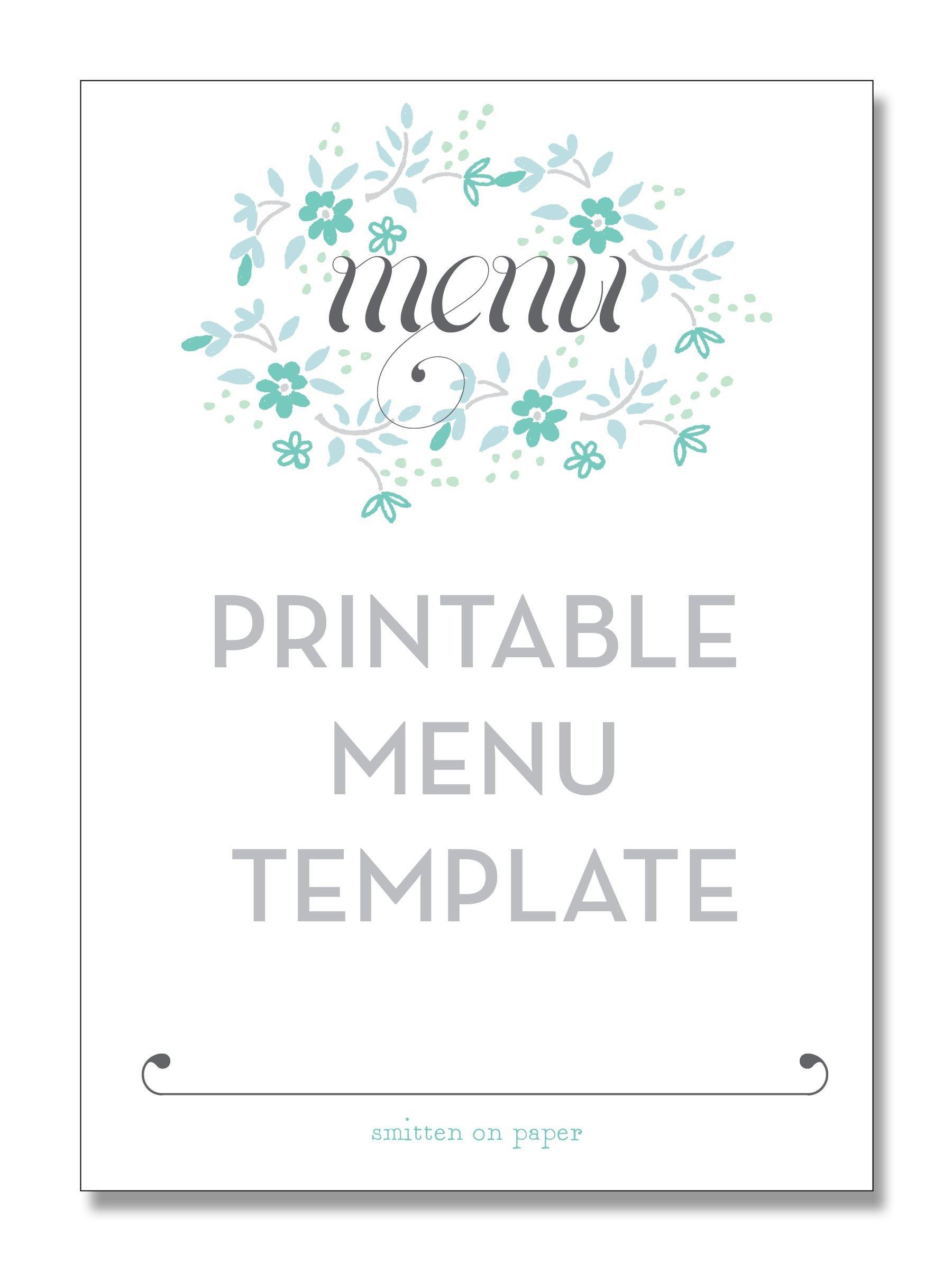 Blank Menu Template Free Freebie Friday Printable Menu Party Time