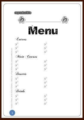 Blank Menu Template Free Restaurant Menu Design Blank