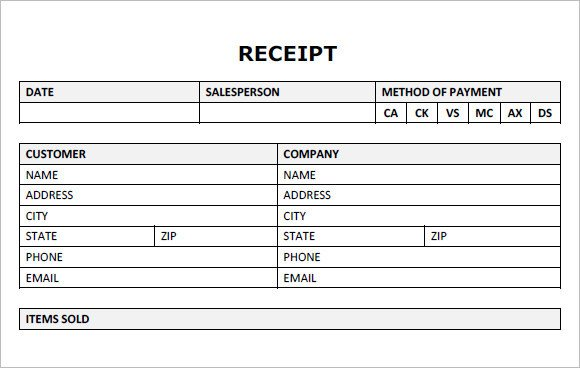 Blank Money order Template 22 Blank Receipt Template – Free Samples Examples format