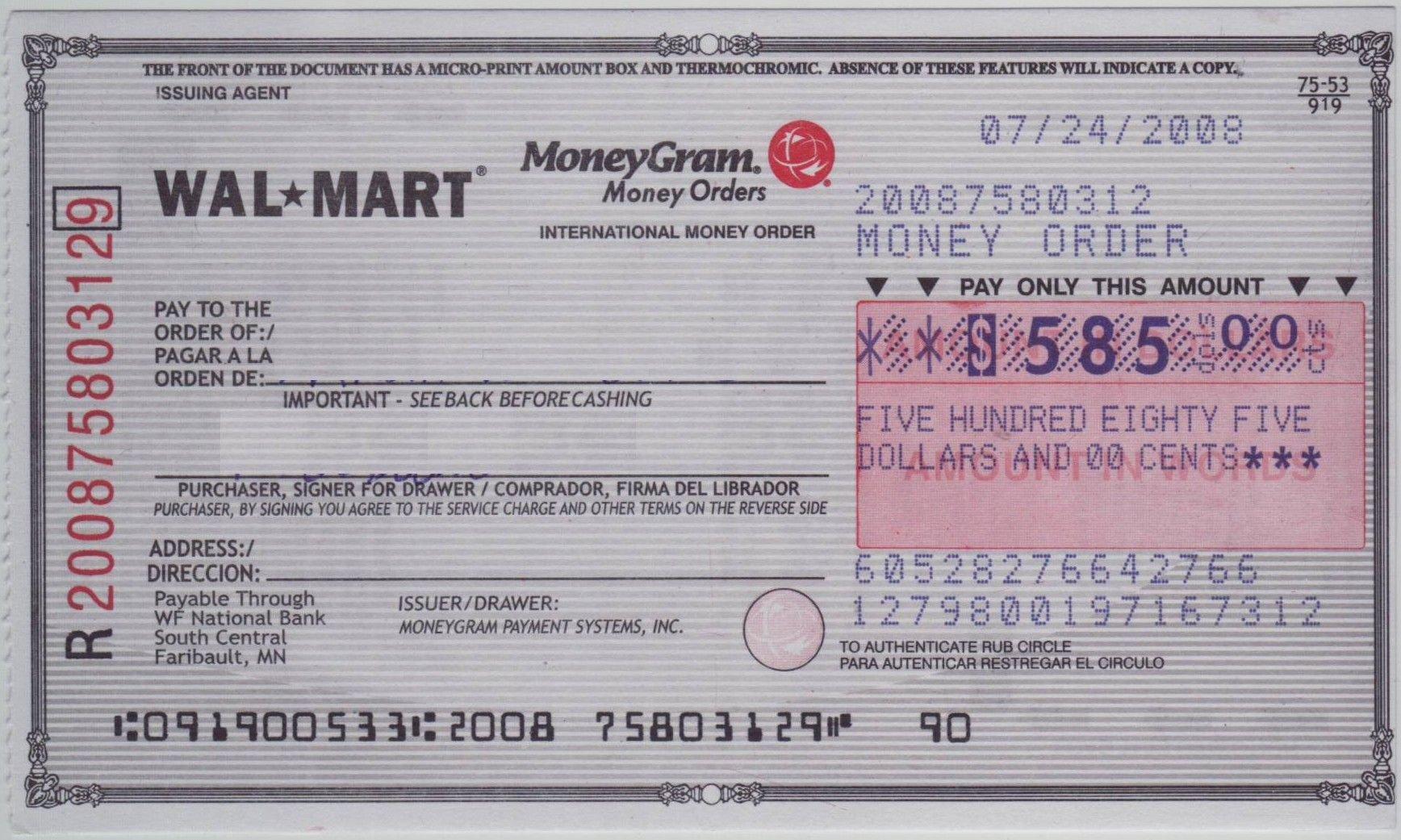 Blank Money order Template Blank Check Sample