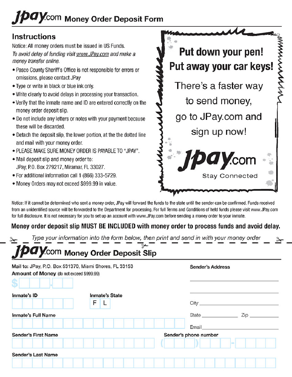 Blank Money order Template Jpay Money order Deposit form Pasco County Sheriff S