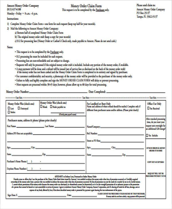 Blank Money order Template Sample Blank order form 9 Examples In Word Pdf