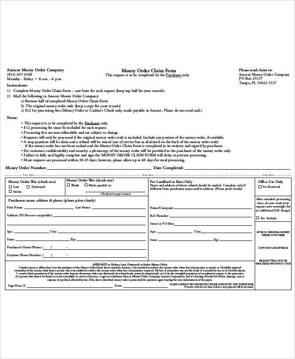 Blank Money order Template Sample Money order form 11 Examples In Word Pdf