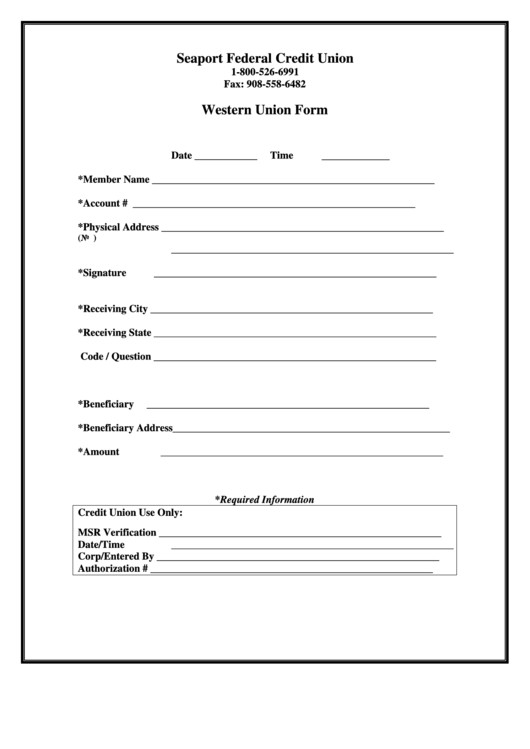 Blank Money order Template Western Union form Printable Pdf