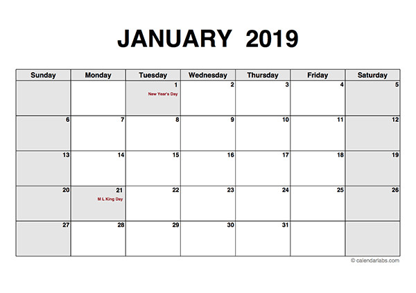 Blank Monthly Calendar Template Pdf 2019 Monthly Calendar Pdf Free Printable Templates