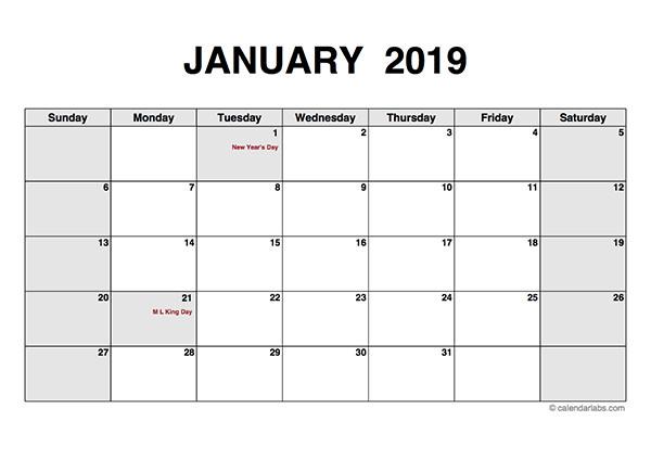 Blank Monthly Calendar Template Pdf 2019 Monthly Calendar Pdf Free Printable Templates