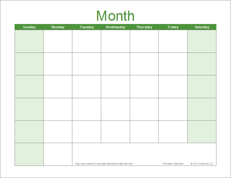 Blank Monthly Calendar Template Pdf Blank Calendar Template Free Printable Blank Calendars