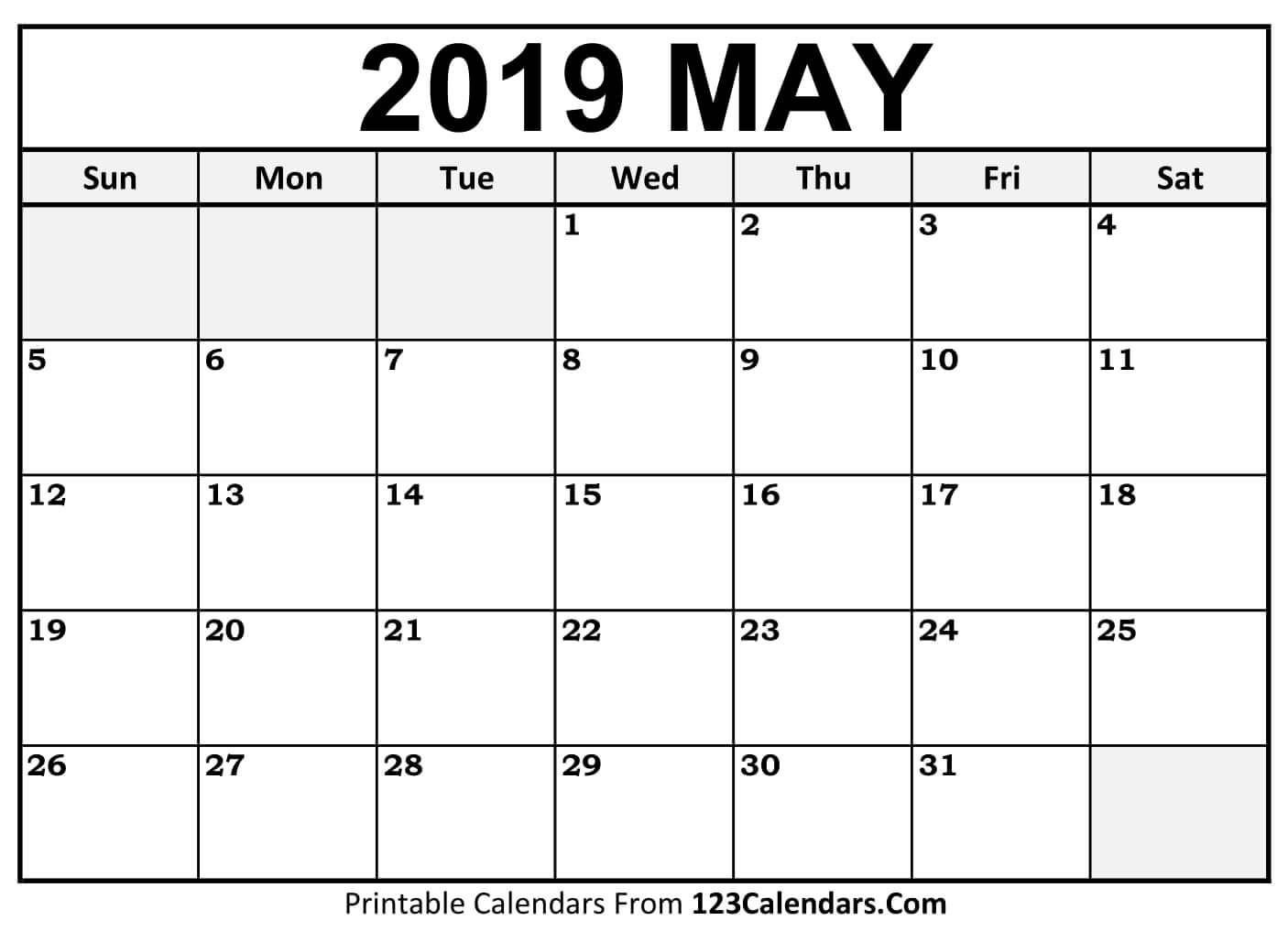 Blank Monthly Calendar Template Pdf Calendar 2019 May May May2019 May2019calendar Floral