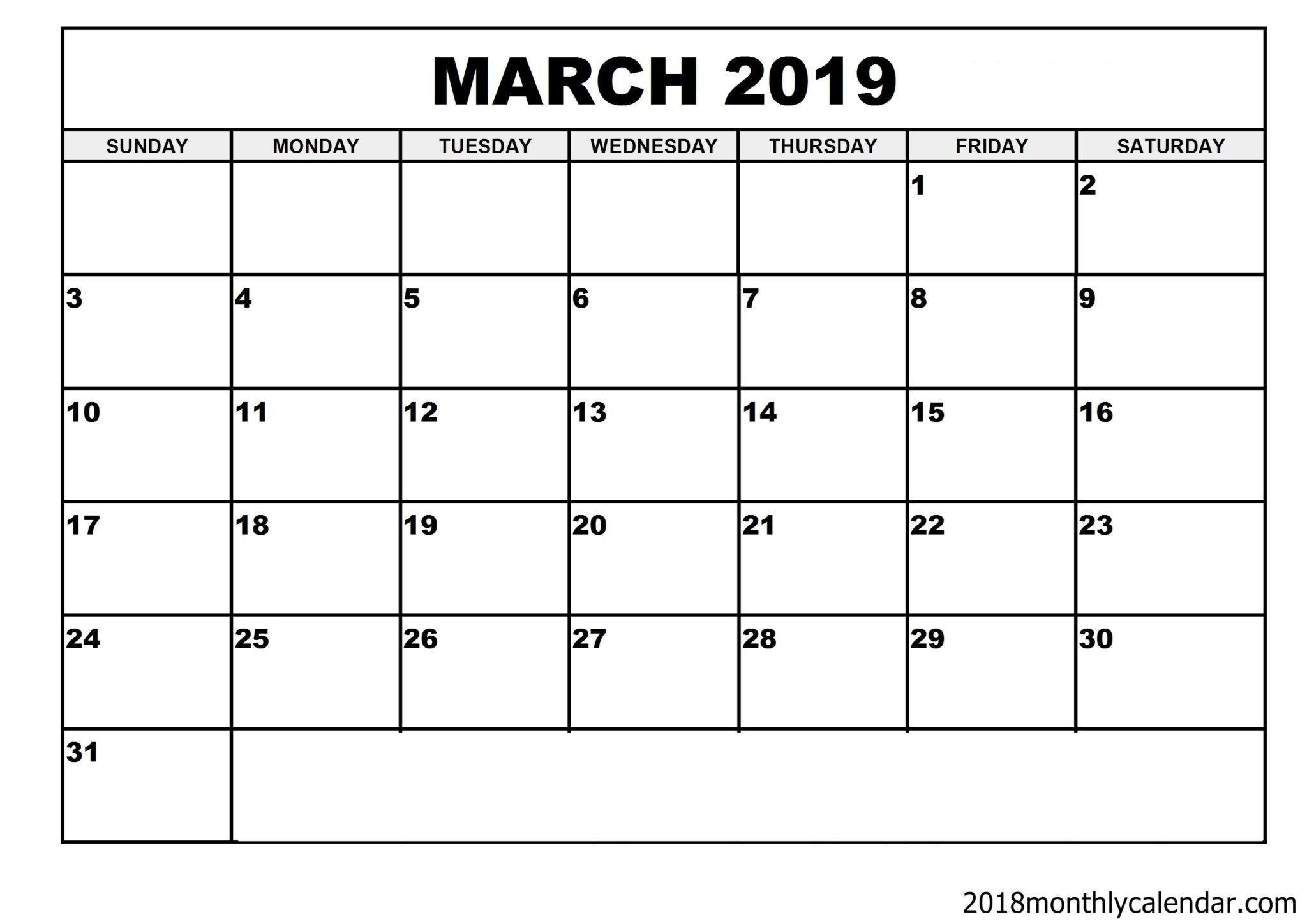 Blank Monthly Calendar Template Pdf Download March 2019 Calendar – Blank Template Editable
