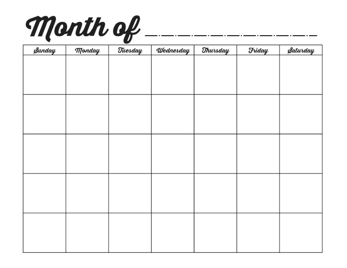 Blank Monthly Calendar Template Pdf Family Binder Printables Ideas