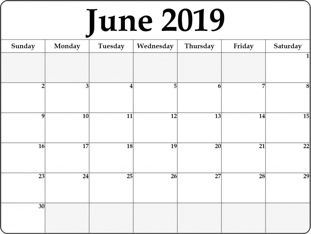 Blank Monthly Calendar Template Pdf Free June 2019 Printable Calendar Templates Pdf Word Excel