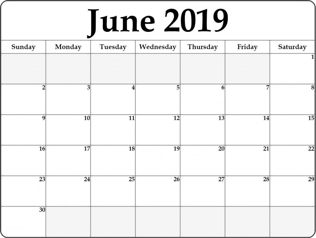 Blank Monthly Calendar Template Pdf Free June 2019 Printable Calendar Templates Pdf Word Excel