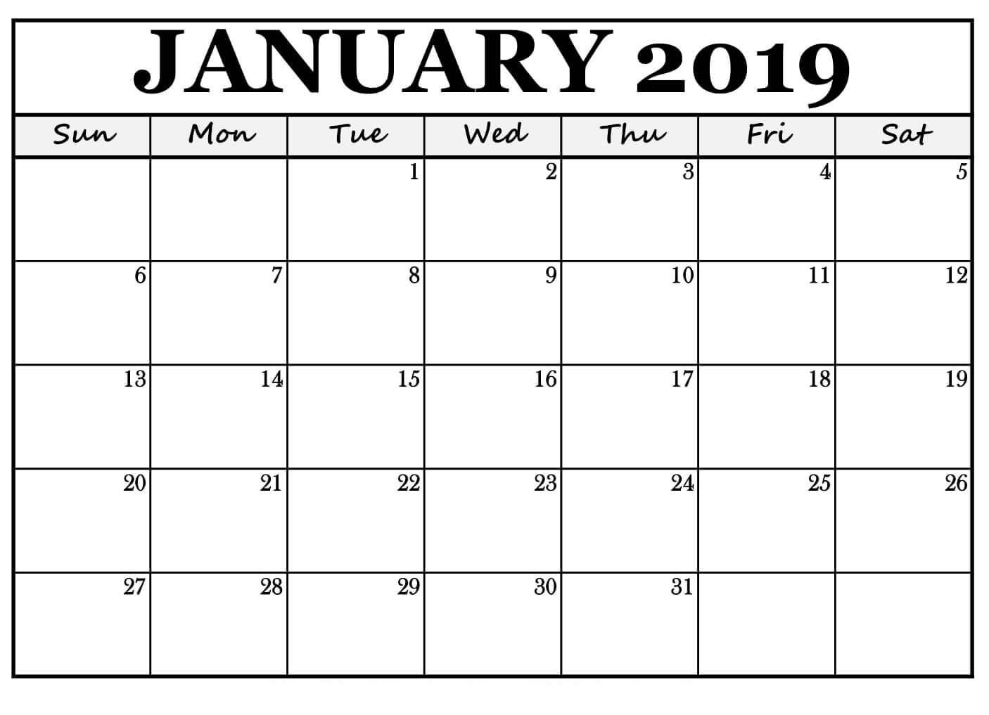 Blank Monthly Calendar Template Pdf January 2019 Calendar for Landscape Free Print