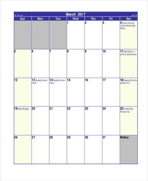 Blank Monthly Calendar Template Pdf Monthly Calendar Templates 8 Free Word Pdf format