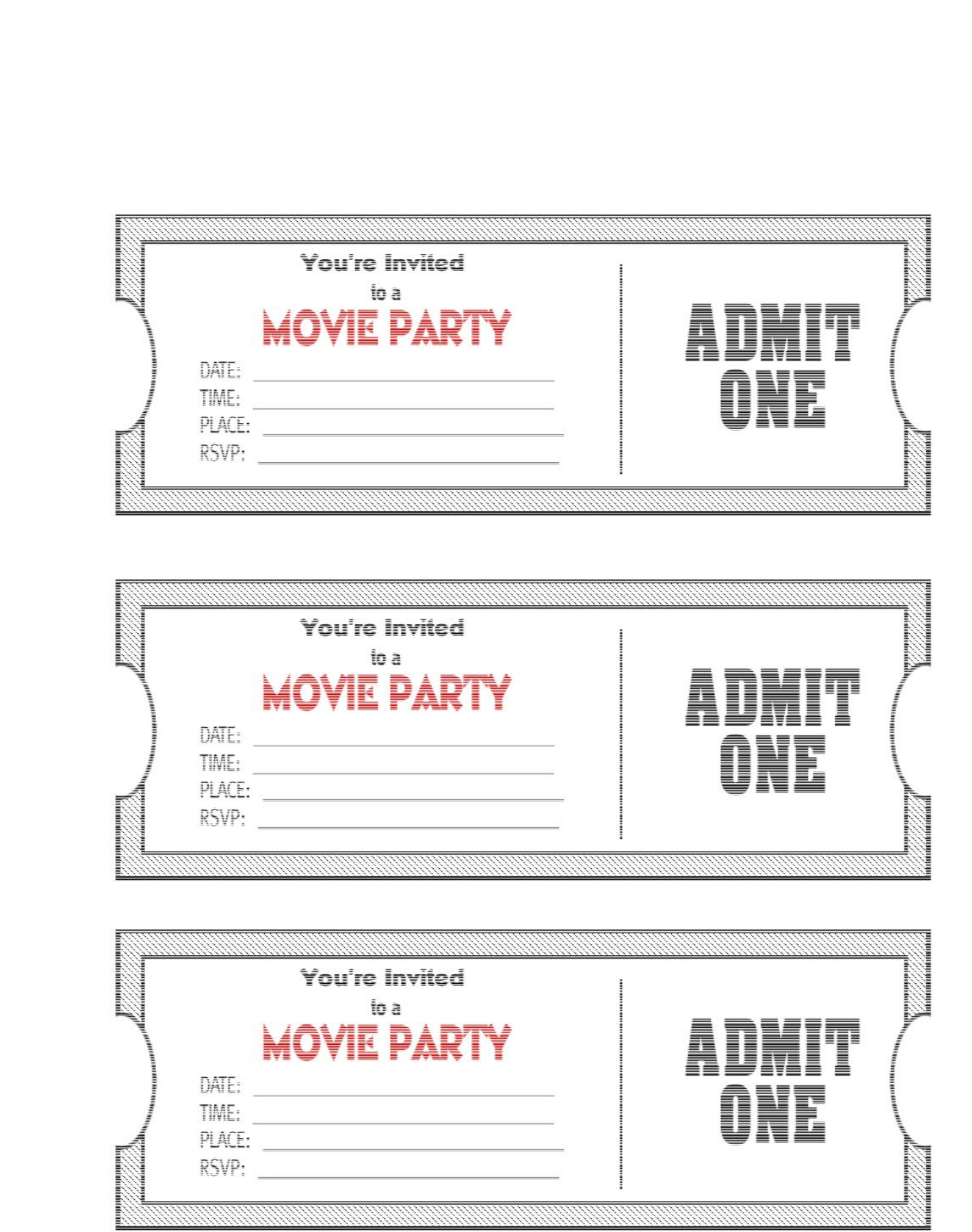 Blank Movie Ticket Template Movie Ticket Template