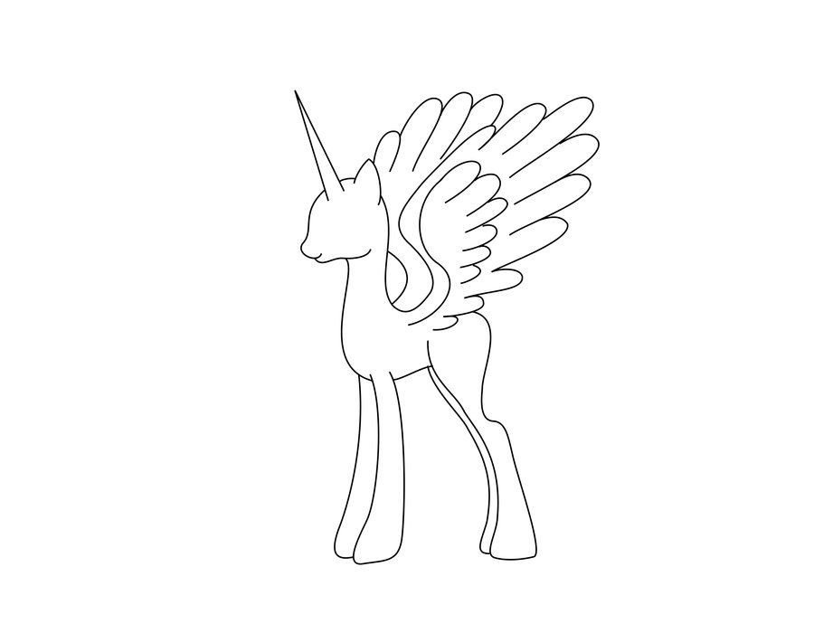 Blank My Little Pony Template Alicorn Mare Stencil Free by Sassymewthree19viantart