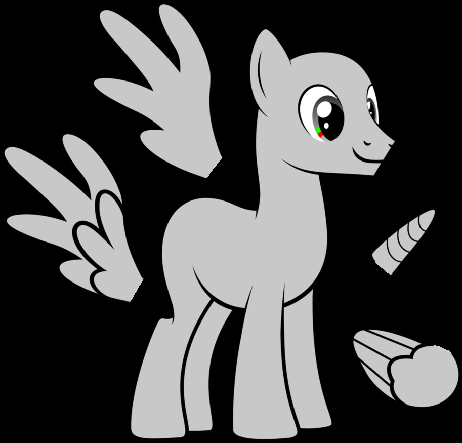 Blank My Little Pony Template Mlp Fim Male Adult Pony Vector Base by