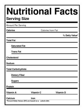 Blank Nutrition Label Template Word Blank Nutrition Labels by the Barefoot Professor