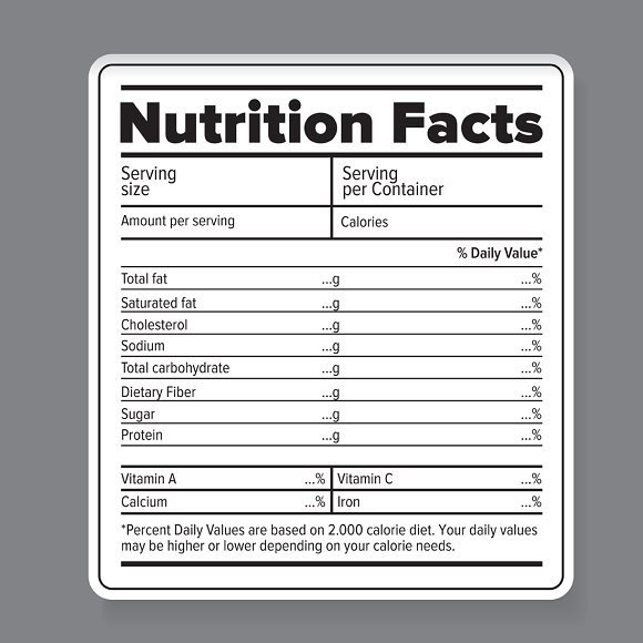 Blank Nutrition Label Template Word Nutrition Facts Vector Label Objects Creative Market