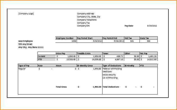 Blank Pay Stub Template Pdf 6 Blank Paycheck Stub Template