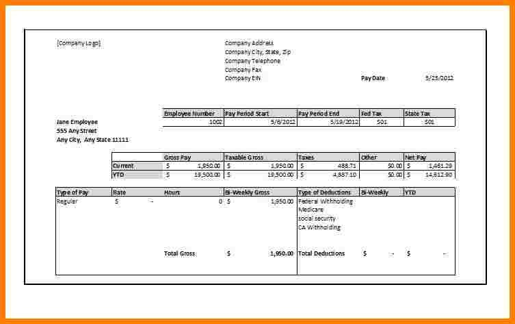 Blank Pay Stub Template Pdf 8 Blank Pay Stub Template Free