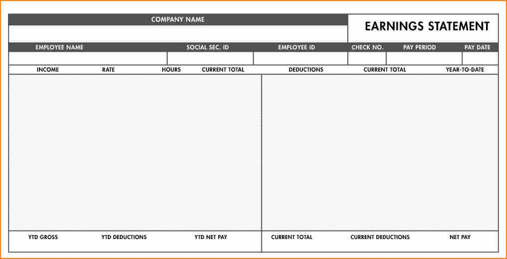 Blank Pay Stub Template Pdf 8 Fillable Paycheck Stub Template