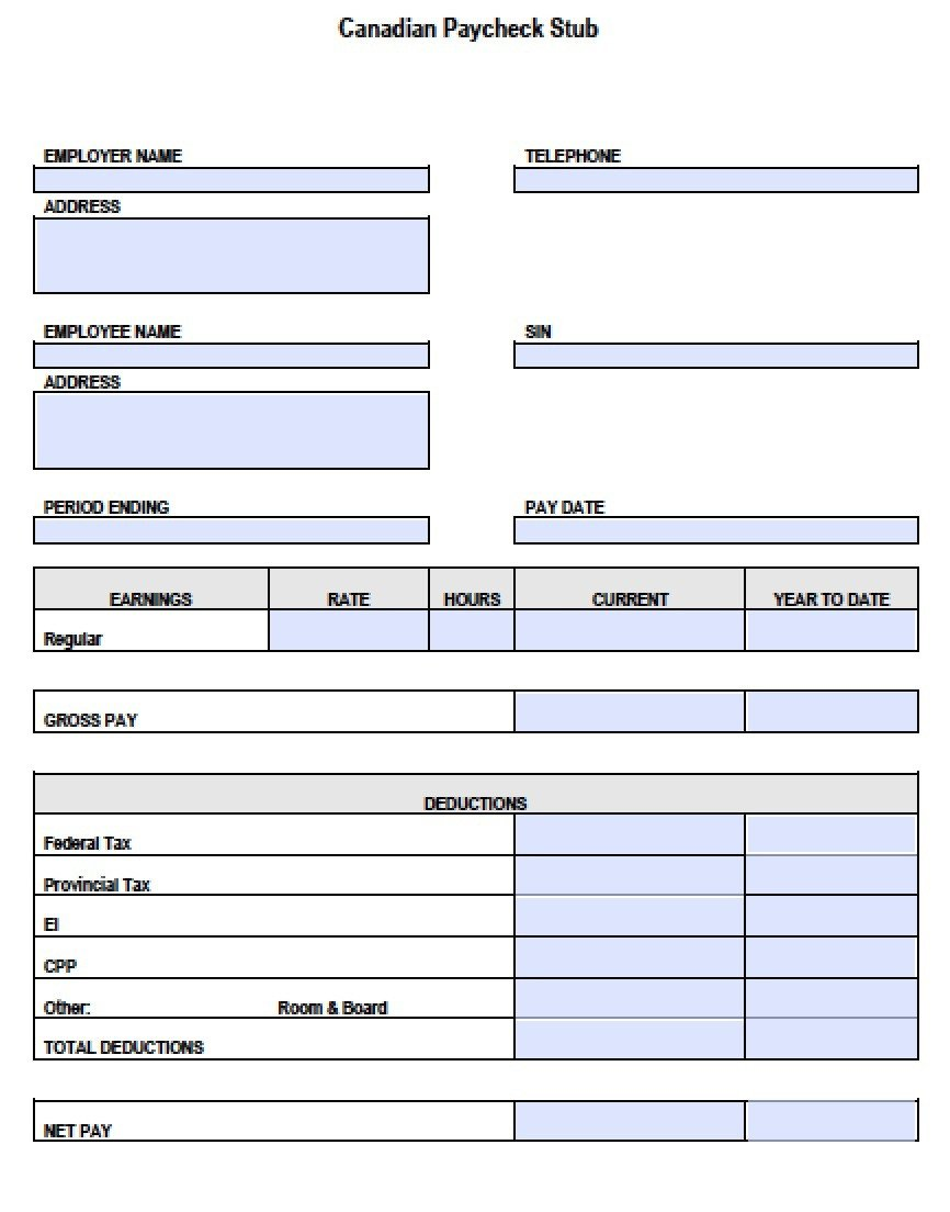 Blank Pay Stub Template Pdf Canadian Pay Stub Template Pdf Templates Resume