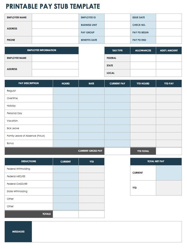 Blank Pay Stub Template Pdf Free Pay Stub Templates