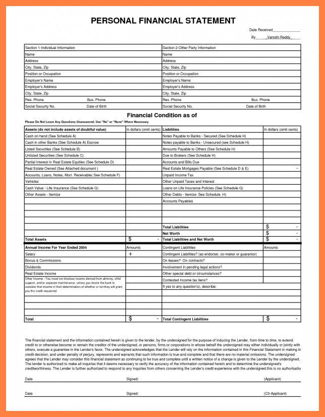 Blank Personal Financial Statement 6 Personal Financial Statement Blank form Excel
